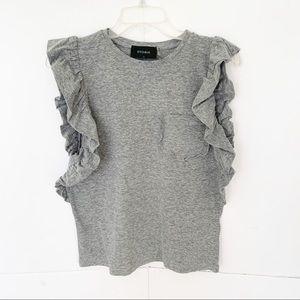 STORIA Ruffle Sleeve Cotton Top